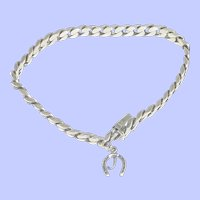 Sterling Silver Chain Bracelet with Horseshoe and J Charm