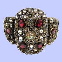 Stunning 1940's Hobe Filigree Wire and Rhinestones Panel Bracelet