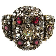 Stunning 1940's Hobe Filigree Wire and Rhinestones Panel Bracelet
