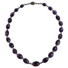 "Vintage 16"" Carved Amethyst Beaded Necklace"
