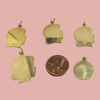 Group of 5 Vintage Gold Filled Silhouette Charms
