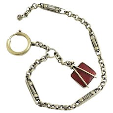 Victorian Watch Chain and Agate Fob