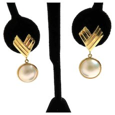 14K Post Earrings With Mother of Pearl