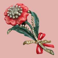 1940's Enamel and Rhinestones Floral Fur Clip Brooch