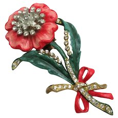 1940's Enamel and Rhinestones Floral Fur Clip Brooch