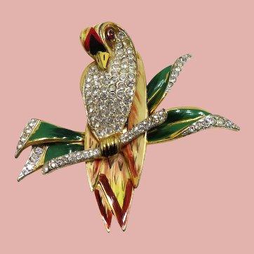 1940's Coro Craft Enamel and Pave Rhinestones Parrot Fur Clip
