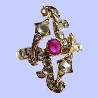 18K Edwardian Diamond and Ruby Ring Size 10