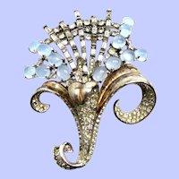 1940's Sterling Vermeil Rhinestone Moonstone Floral Brooch