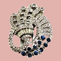 1940's Sapphire and Clear Rhinestone Fur Clip/Pin Bogoff