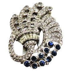 1940's Sapphire and Clear Rhinestone Fur Clip/Pin Bogoff