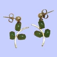 Vintage 14K Jade Cabochon Post Earrings