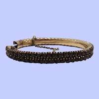 Extra Small Double Row Bohemian Garnet Hinged Brace. 1890's