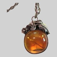 Vintage Sterling Silver and Baltic Amber Pendant Necklace