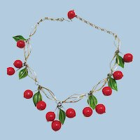 Vintage 1970's Cherry and Leaf Necklace