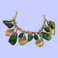 Vintage Gold Tone Bracelet with Chunky Green Bakelite, Gold Flecked Glass Beads