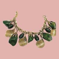 Vintage Gold Tone Bracelet with Chunky Green Bakelite, Gold Flecked Glass Beads