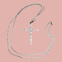 Vintage 14K White Gold Cross With Diamonds and Chain