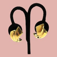 9k Yellow Gold Hollow Puffy Post Earrings