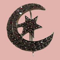Bohemian Garnet Crescent Moon and Star brooch