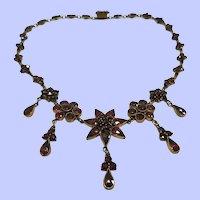 Bohemian Garnet Necklace Czechoslovakia 1910's
