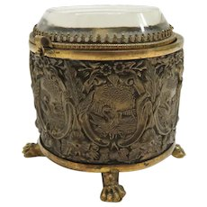Brass and Bronze Dresser Casket with Beveled Glass Lid
