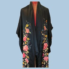 1900's-1920's Embroidered Quilted Satin Kimono/Robe