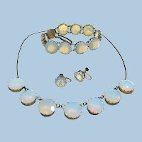 1920's Opaline Necklace, Bracelet, Earrings Parure