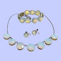 1920's Opaline Necklace, Bracelet, Earrings Parure