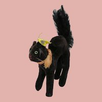 1950's-60's Smallest Steiff Black Cat With Arched Back