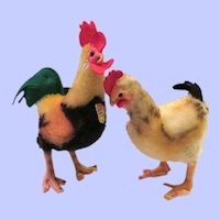 Steiff Medium Size Rooster and Hen Pair