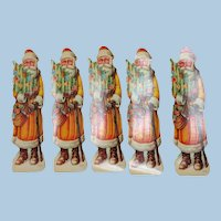 Group of 5 c. 1920's Candy Box Paper Inserts, Santa Claus, Christmas, Holidays