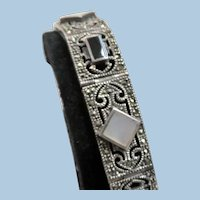 Art Deco Sterling Silver Filigree Panel Bracelet
