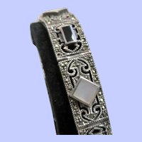 Art Deco Sterling Silver Filigree Panel Bracelet