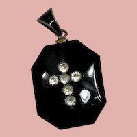 Victorian Onyx Mourning Locket with Tintype