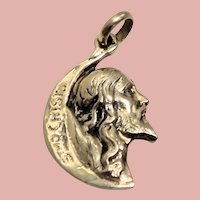 18k Yellow Gold Christ in a Crescent Moon Pendant or Charm