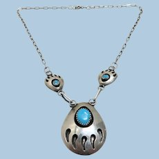 Sterling Silver and Turquoise Bear Claw Necklace and Post Earrings
