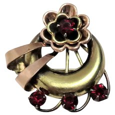 Vintage 12k Gold Filled Brooch with Ruby Rhinestones Signed