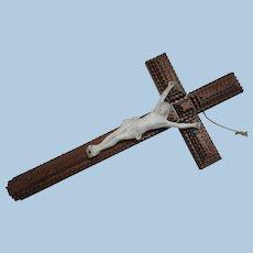 C. 1900 Tramp Art Cross with Bisque Christ Figure