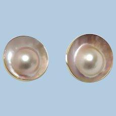 Fabulous Pair Large Blister Pearl Post Lever Back Earrings 14K