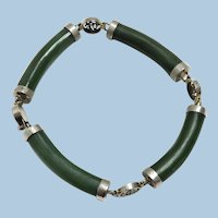 Spinach Green Jade and Sterling Silver Bracelet