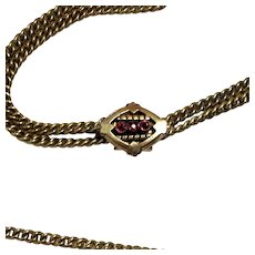 Long Victorian Gold Filled Chain With Garnet Slide