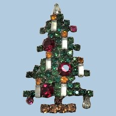 6 Candle Weiss Christmas Tree Pin/Brooch