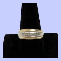 14K Yellow Gold, White Gold and Diamonds Men's Wedding Band Size 10 1/2