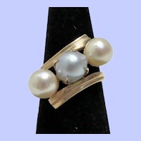 14K Tahitian Grey Semi-Baroque and Cultured Pearls Ring Size 7