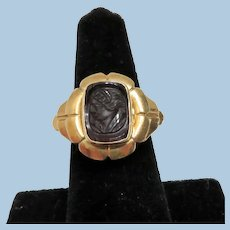 14K Victorian Carved Carnelian Cameo Ring