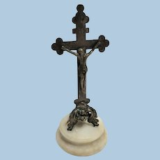 c 1900 Small Standing Metal Crucifix on Alabaster Base