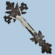 Black Forest Wood Carved Crucifix With Bisque Christ Figure