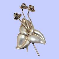 Napier Sterling Silver Trillium Fur Clip