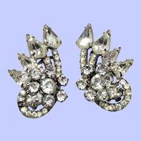 Fancy Clear Rhinestone Clip On Earrings