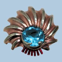 1940's Sterling Silver Brooch With Huge Blue Glass Stone